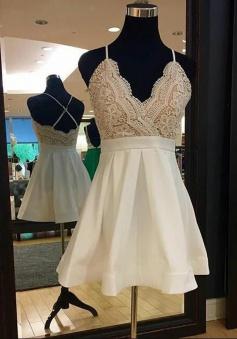 A-Line Spaghetti Straps Short Ivory Chiffon Homecoming Dress with Lace