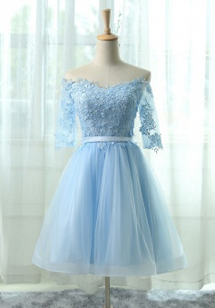 A-Line Off-the-Shoulder Half Sleeves Blue Tulle Homecoming Dress with Appliques
