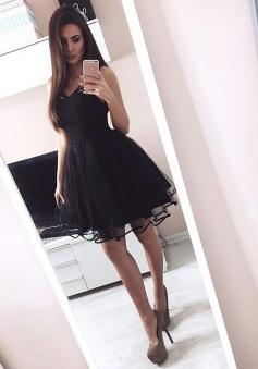 A-Line V-Neck Tulle Little Black Dress