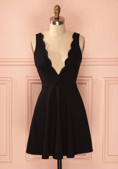 A-Line Deep V-Neck Satin Little Black Dress