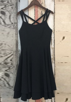 A-Line Criss-Cross Straps Spandex Little Black Dress