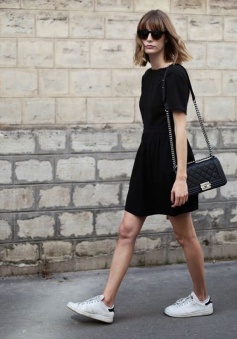 A-Line Bateau Short Sleeves Backless Polyester Little Black Dress