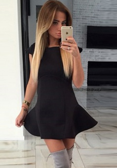 A-Line Bateau Cap Sleeves Little Black Dress Cut Out Back