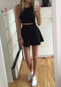 Two Piece Jewel Satin Little Black Dress with Pleats