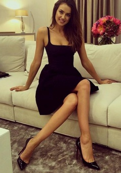 A-Line Square Neck Satin Little Black Dress