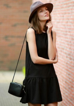 A-Line Jewel Sleeveless Polyester Little Black Dress