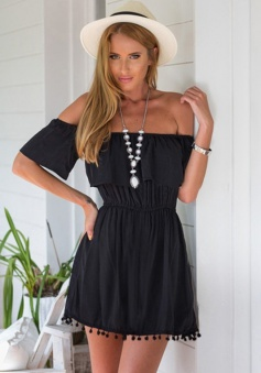 A-Line Off-the-Shoulder Short Sleeves Polyester Little Black Dress with Tassels