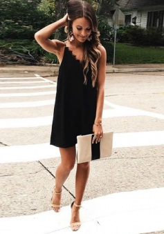 A-Line Spaghetti Straps Chiffon Little Black Dress with Lace