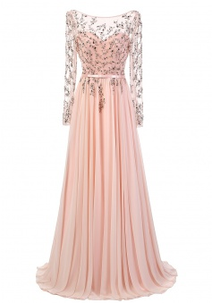 Elegant A-Line Boat Neck Long Sleeves Beading Pink Chiffon Evening Party Dress