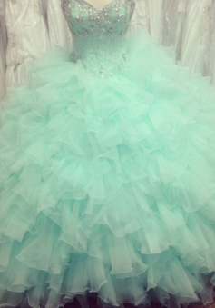 Simple-dress Handmade Sweetheart Beading Tulle Quinceanera Dresses/Sweet 16 Dresses TUPD-7387