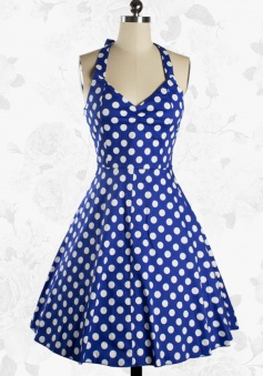 Women Rockabilly 50s Vintage Polka Dots Blue Swing Party Cocktail Dress