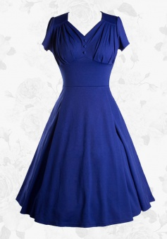 Vintage 50s 60s V-Neck Short Sleeves Blue Swing Cocktail Party Dress