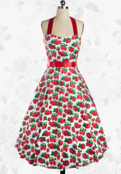 Retro Halter 50s Red Strawberry Print Swing Cocktail Party Dress With Sash