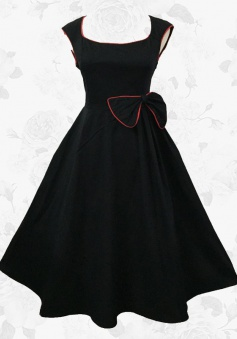 Black Retro 50s Cap Sleeves Swing Cocktail Party Dress With Bow