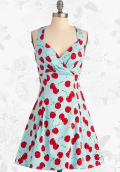 Women's Retro 50s 60s Style Cherry Rockabilly Party Swing Cocktail Dress
