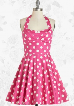 Pink Wommen's Retro 50s 60s Halter Polka Dots Swing Party Cocktail Dress
