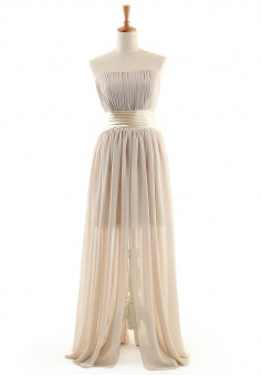 Hot Sale Sheath/Column Strapless Floor-length Chiffon Cocktail Dresses CHDT100092