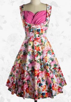 Women Lindy Bop 50s Retro Floral Print Rockabilly Swing Party Evening Dress