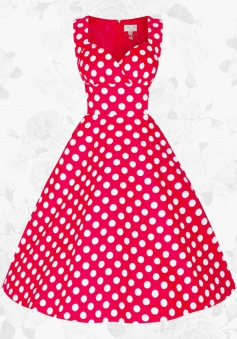 Women's Vintage 50s Sweetheart Polka Dot Printed Party Swing Dress
