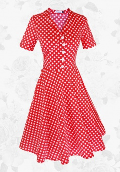 Red Vintage 50s 60s Polka Dot Short Sleeves Midi Rockabilly Party Swing Dress
