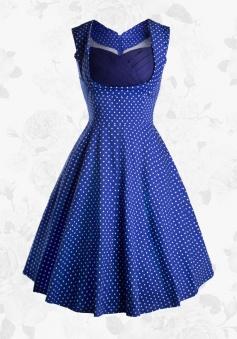 Royal Blue Vintage 50s Sweetheart White Polka Dots Party Swing Women Dress