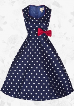Blue Retro 50s 60s Style Polka Dot Rockabilly Swing Pinup Party Dress With Bowknot