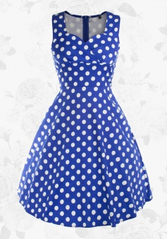 Women's Blue Retro Style Sweetheart Sleeveless Polka Dot Party Swing Dress