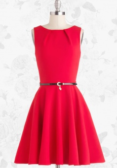 Red Retro 50s Style Knee Length Sleeveless Party Swing Prom Dress With Belt