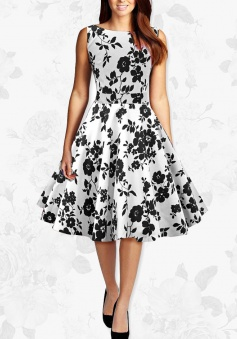Women Black And White Flowers Retro 50s Rockabilly Party Swing Dress