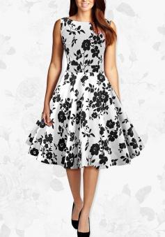 Women Black And White Flowers Retro 50s Rockabilly Party Swing Dress