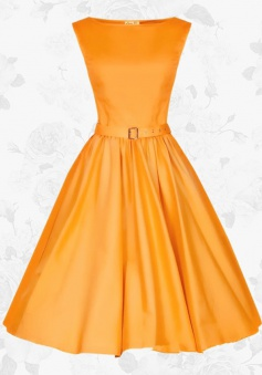 Women's Retro 50s Style Empire Orange Casual Party Swing Prom Dress With Belt