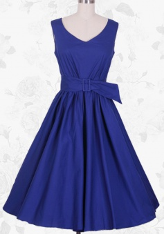 Royal Blue Vintage Style O-Neck Empire 50s 60s Pinup Party Swing Dress For Women