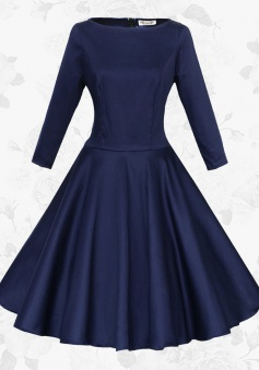 Navy Blue Round Neck Long Sleeves Retro 50s Waist Slim Party Swing Dress