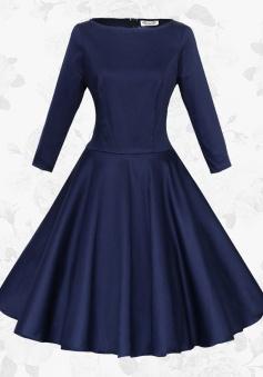 Navy Blue Round Neck Long Sleeves Retro 50s Waist Slim Party Swing Dress