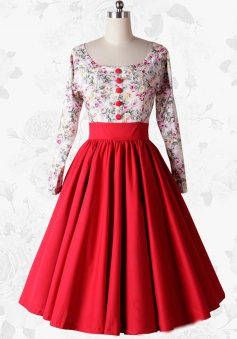 Vintgae 50s Scoop Long Sleeves Print Red Swing Party Dress With Buttons