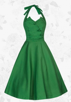 Women's Retro Halter 50s 60s Buttons Cotton Green Short Swing Party Dress
