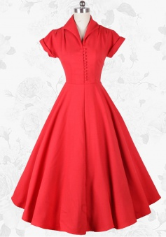 Red Vintage Style Lapel Short Sleeves 50s Waist Slim Swing Party Long Dress