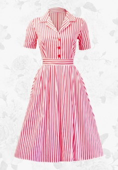 Women's Vintage Style 50s Lapel Striped Short Sleeves Swing Party Dress