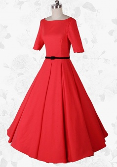 Women Vintage Scoop Short Sleeves 50s 60s Red Party Swing Long Dress