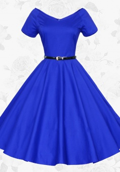 Women V-neck Short Sleeves Vintage 50s 60s Royal Blue Party Swing Dress With Belt
