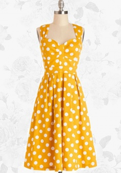 Yellow Retro Polka Dot 50s Style Vintage Rockabilly Swing Party Dress