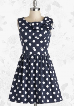Blue Retro Scoop 50s White Polka Dots Party Swing Dress With Bowknot