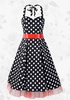 Black Vintage Halter 50s 60s White Polka Dots Swing Party Dress With Red Belt
