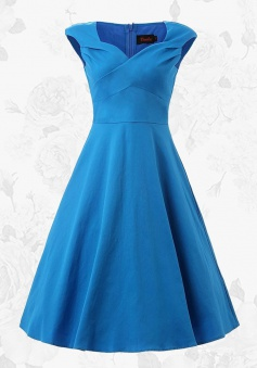 Women Vintage Style V-neck 50s Blue Swing Party Dress