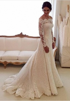 Off-the-shoulder Tulle Appliques Mermaid Lace Long Sleeve Wedding Dress