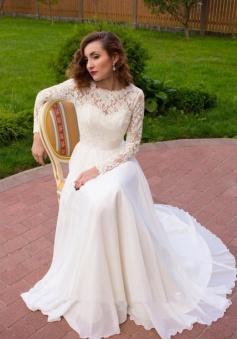Beauty Round Neck Long Sleeve Chiffon Lace Weddig Dress