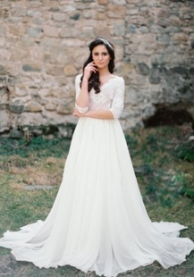 Short Sleeve V Neck Mermaid Wedding Dress With Nude Lace Bodice Dress