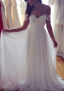Elegant Floor Length Off Shoulder Lace Wedding Dresses With Appliques