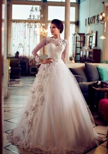 Beauty Sweetheart Appliqued Long Sleeve Puffy Princess Wedding Dresses