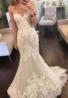 Sexy Sleeveless Low Back Scoop Lace Wedding Dress